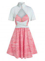 Sleeveless Space Dye Print Dress and Lace Trim Top -