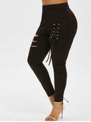 Plus Size Ripped Lace Up Pants -