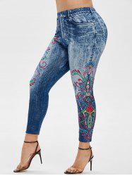 Plus Size High Rise Tribal Print Ninth Jeggings -
