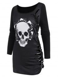 Skull Graphic Cutout Braided Long Sleeve T Shirt -
