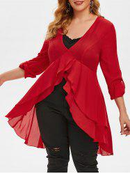 Plus Size High Low Chiffon Blouse and Tank Top Set -
