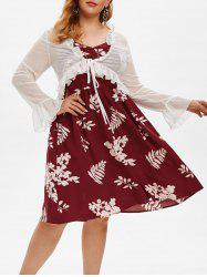 Plus Size Floral A Line Dress and Ruffle Tied Top Set -
