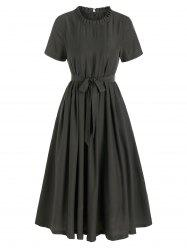 Short Sleeve Pleated Belted Casual Dress -