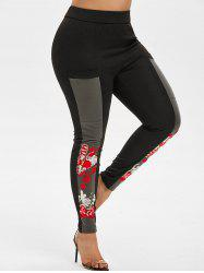 Plus Size Embroidered Mesh Insert Fitted Pants -