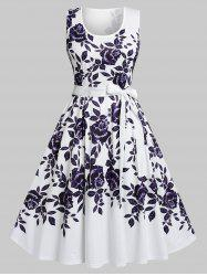 Plus Size Flower High Waisted Belted Tank Dress -