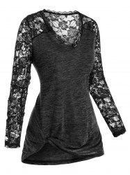 Plus Size Lace See Thru Space Dye Long Sleeve Tee -