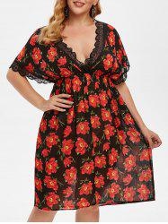 Plus Size Plunge Chiffon Floral Intimate Dress -