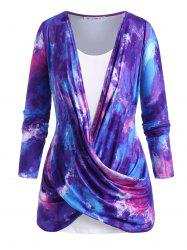 Cowl Twisted Front Tie Dye Plus Size Top Set -