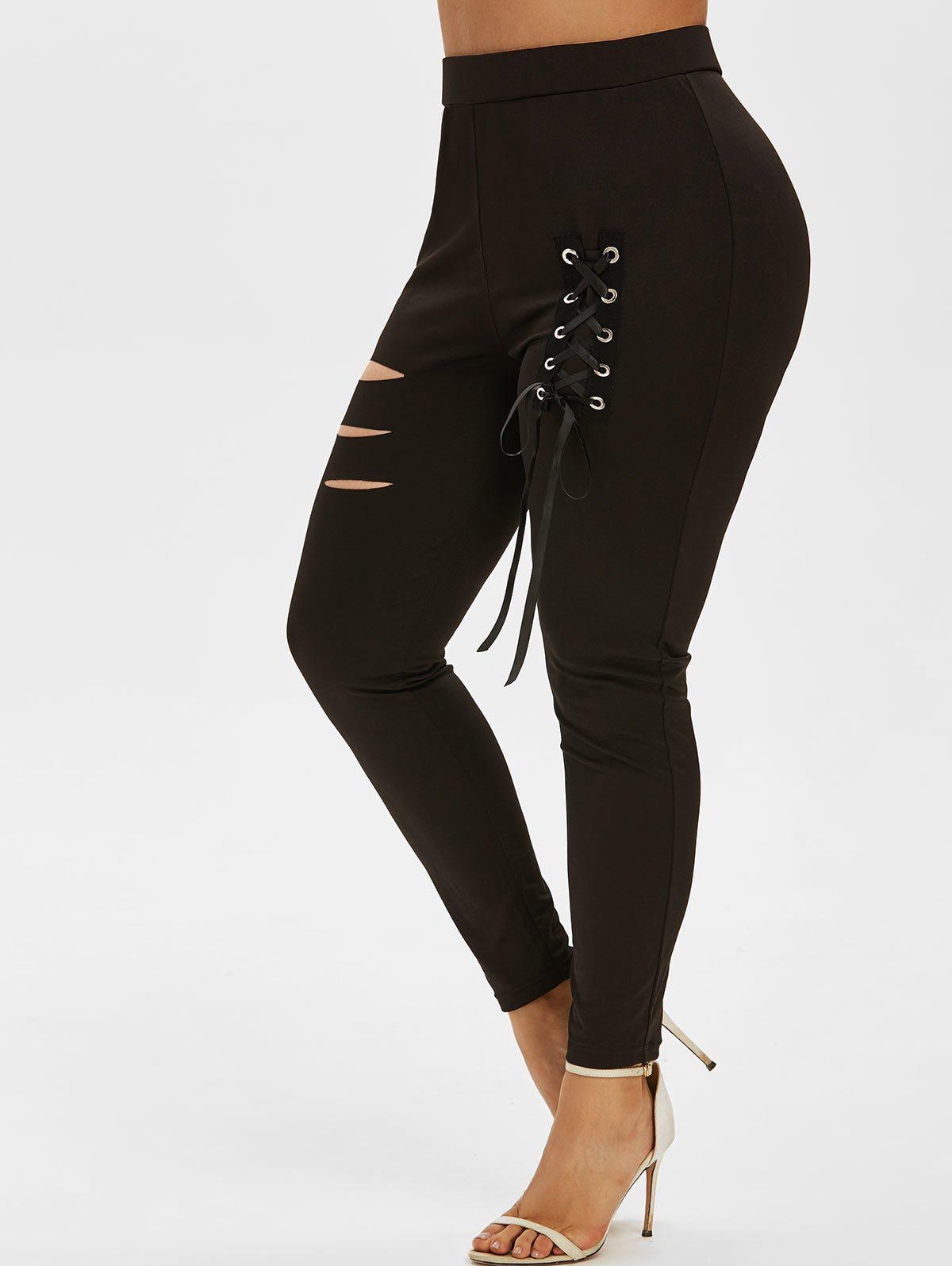 Best Plus Size Ripped Lace Up Pants