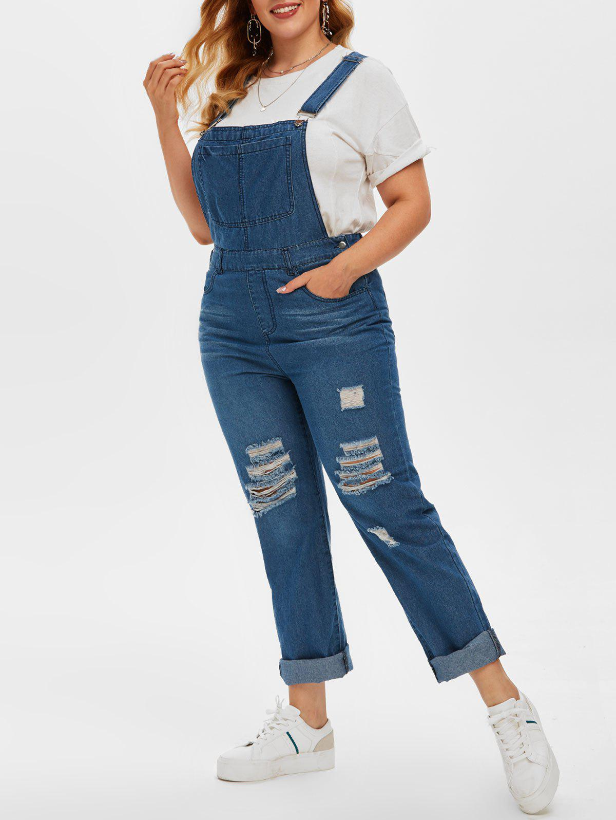 Outfits Plus Size Ripped Destroyed Dungaree Jumpsuit