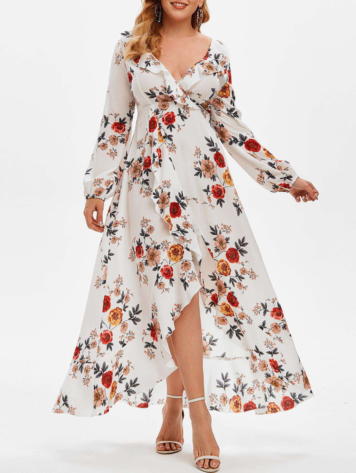 Discount Plus Size Ruffled Floral Print High Low Dress