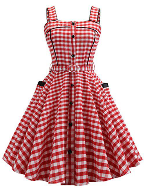 Plaid Piping Side Pocket Belted Sleeveless Dress фото
