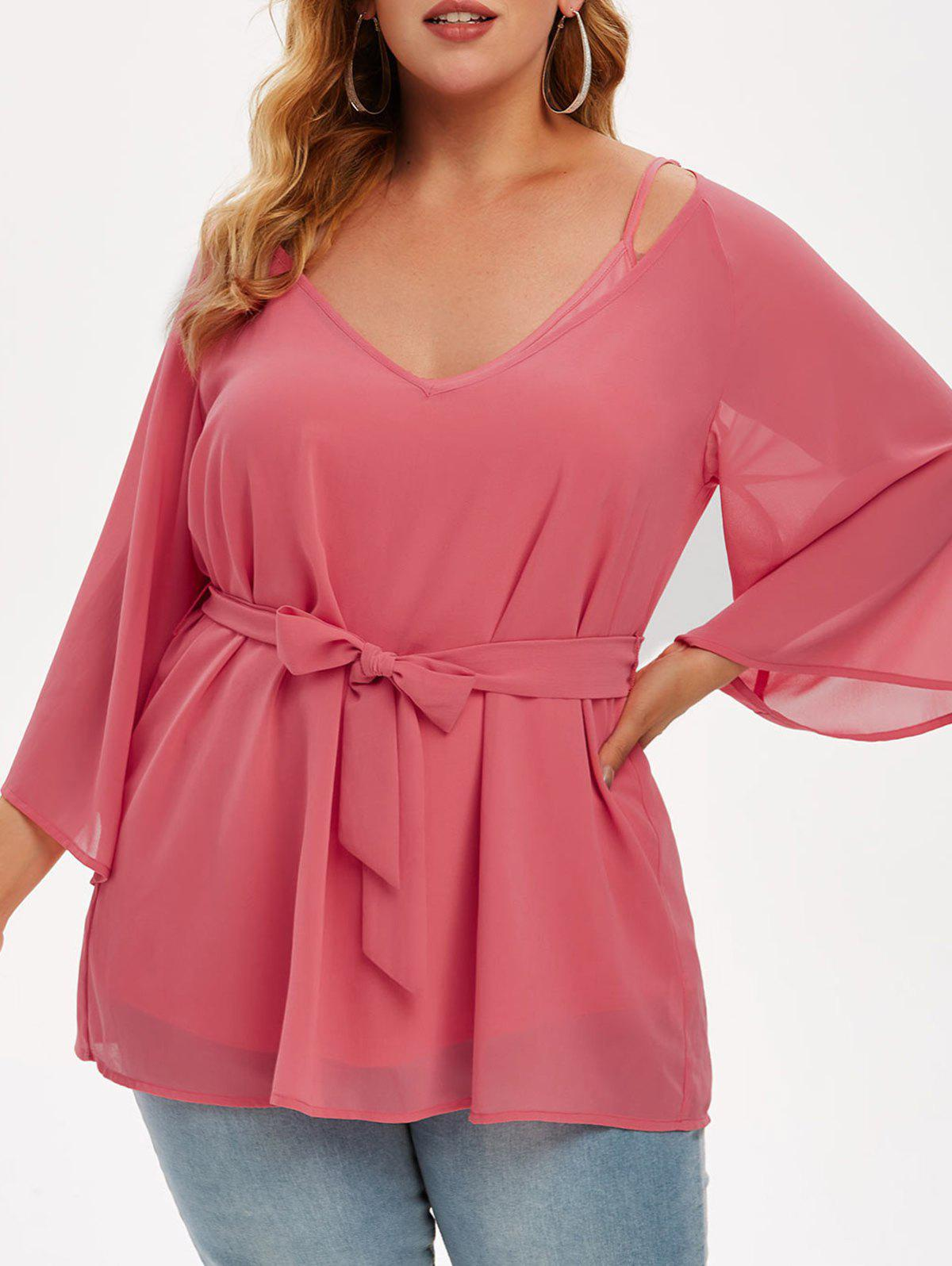 Trendy Plus Size Cami Top And Chiffon Belted Blouse Set
