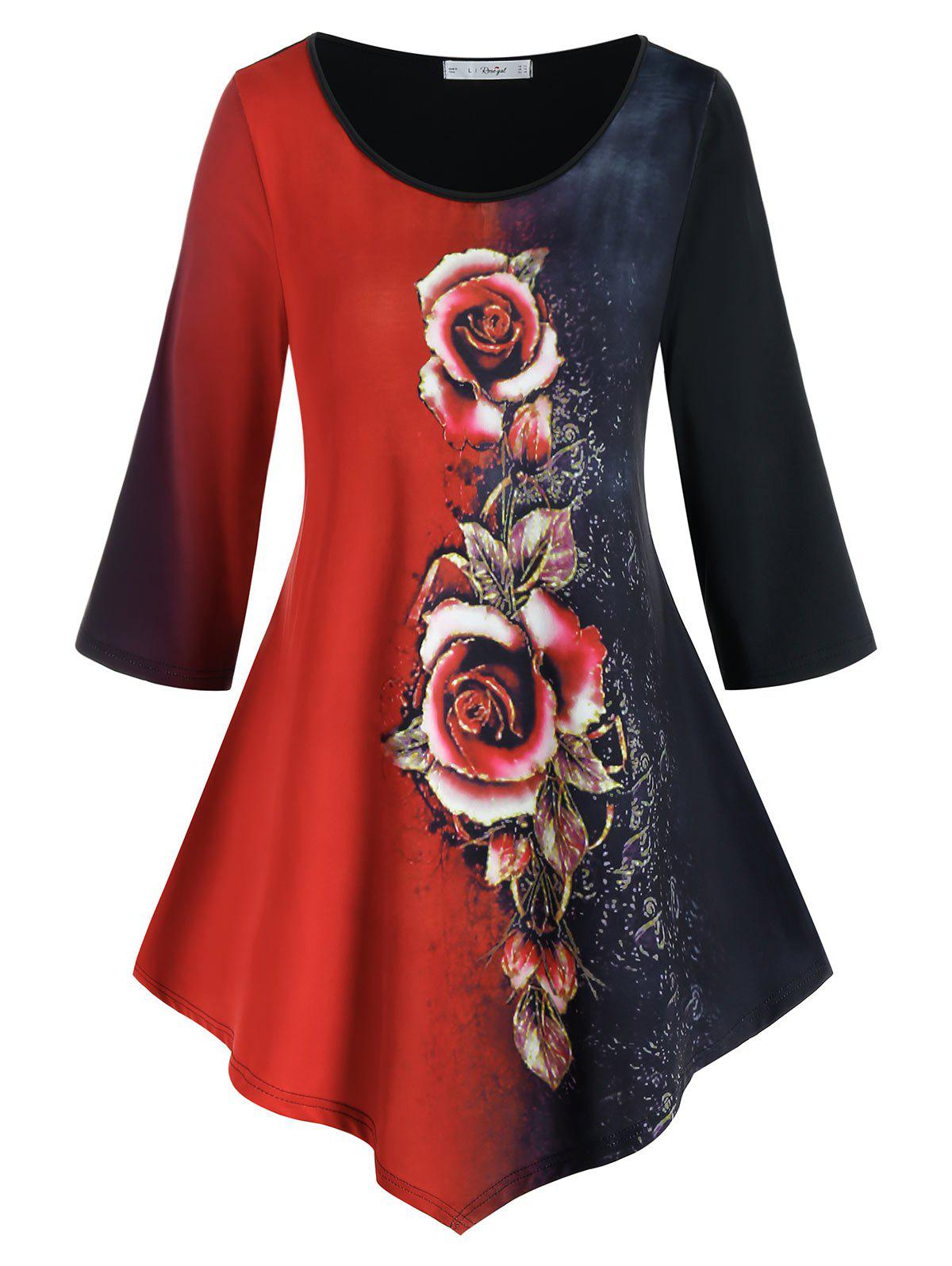 Sale Plus Size Asymmetric Rose Print Two Tone T Shirt