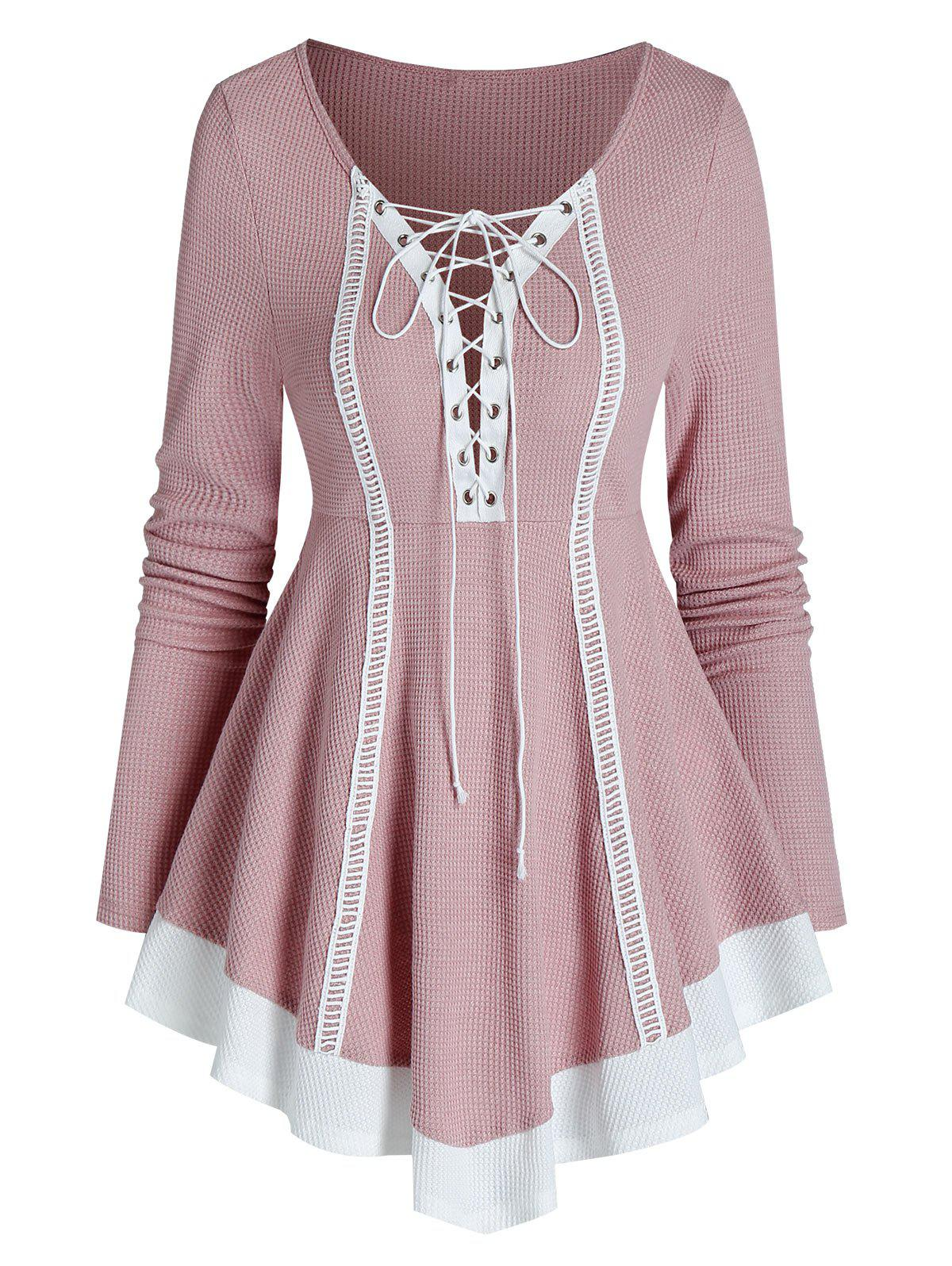 Bicolor Lace Up Knitted A Line Top фото