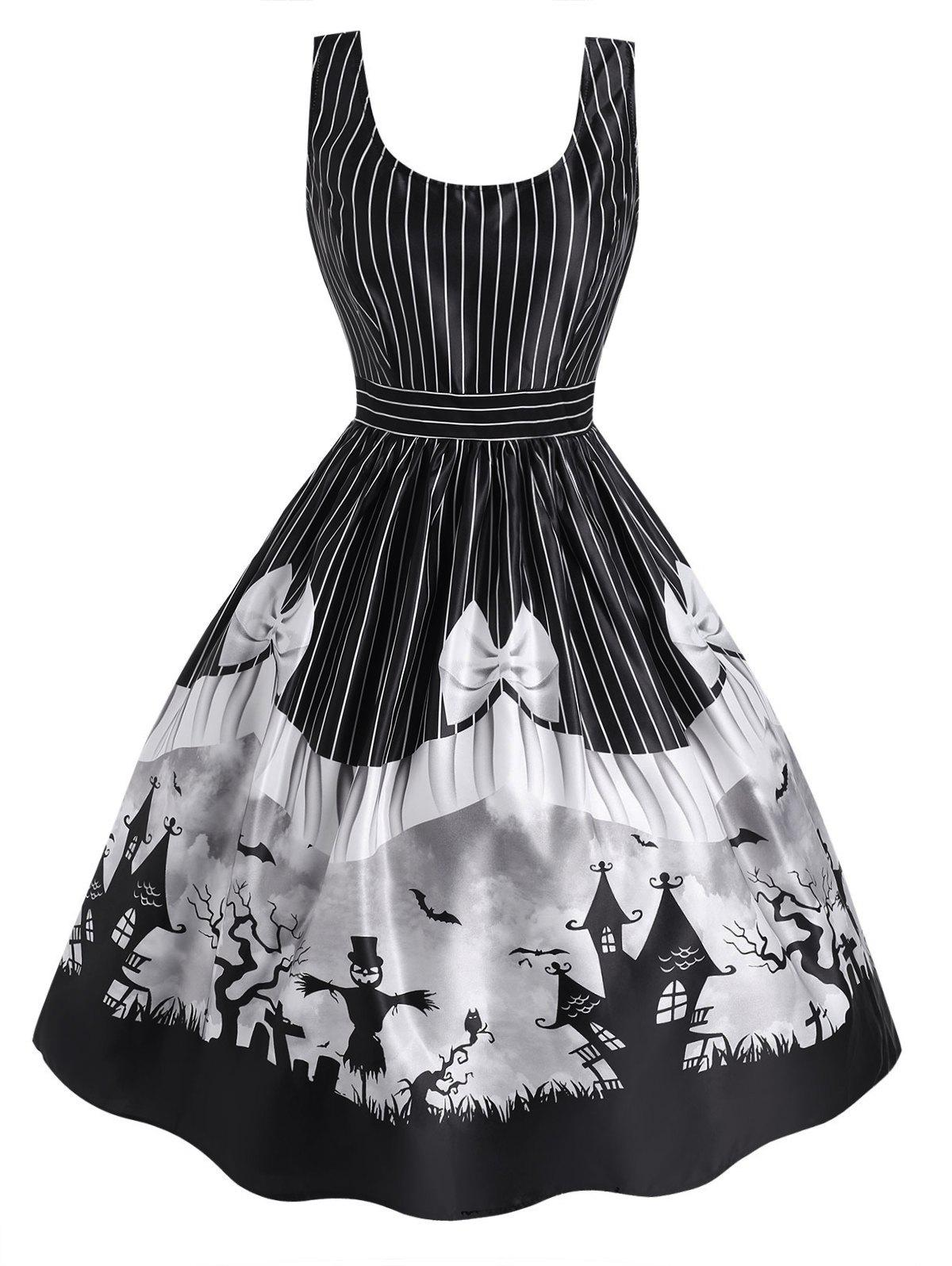Cheap Halloween Castle Striped Bowknot Print Sleeveless Dress