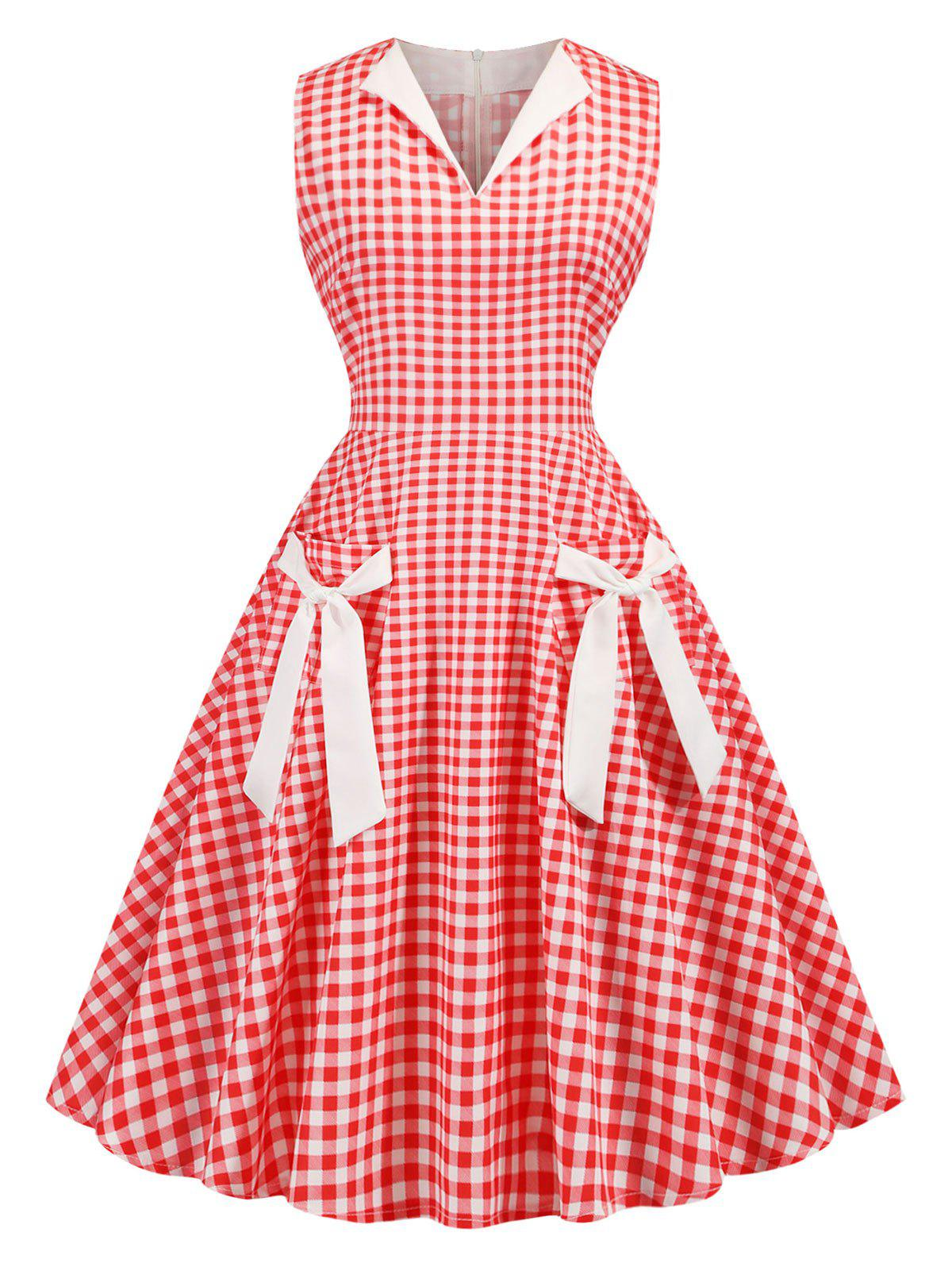 Plaid Tied Front Pocket Sleeveless 1950s Dress фото