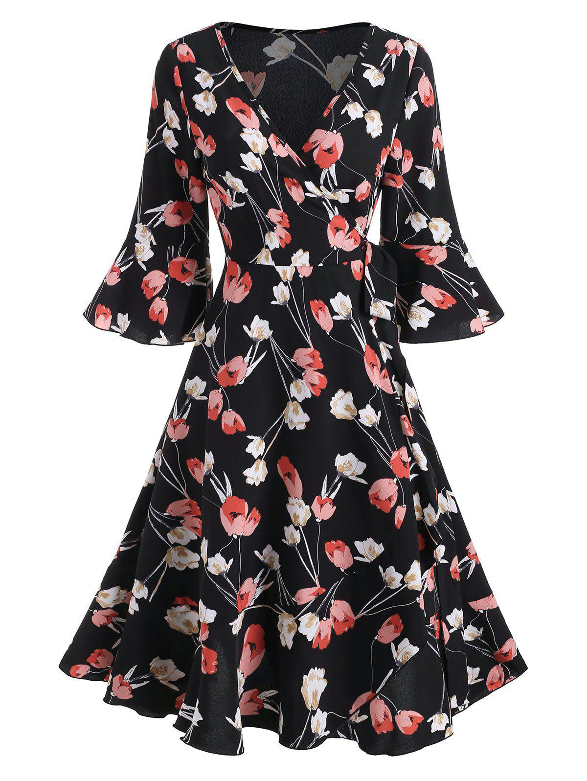 New Floral Print V Neck Ruffled Wrap Dress