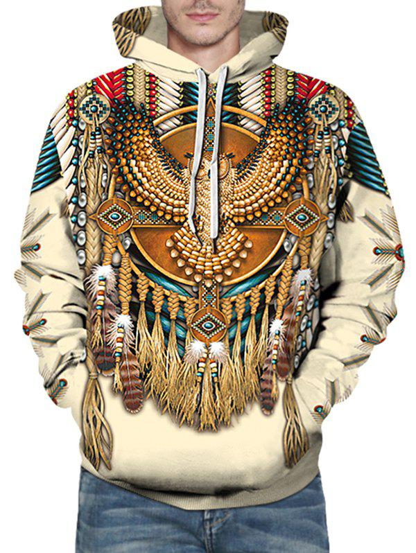 Shop Indian Eagle Pattern Front Pocket Drawstring Hoodie