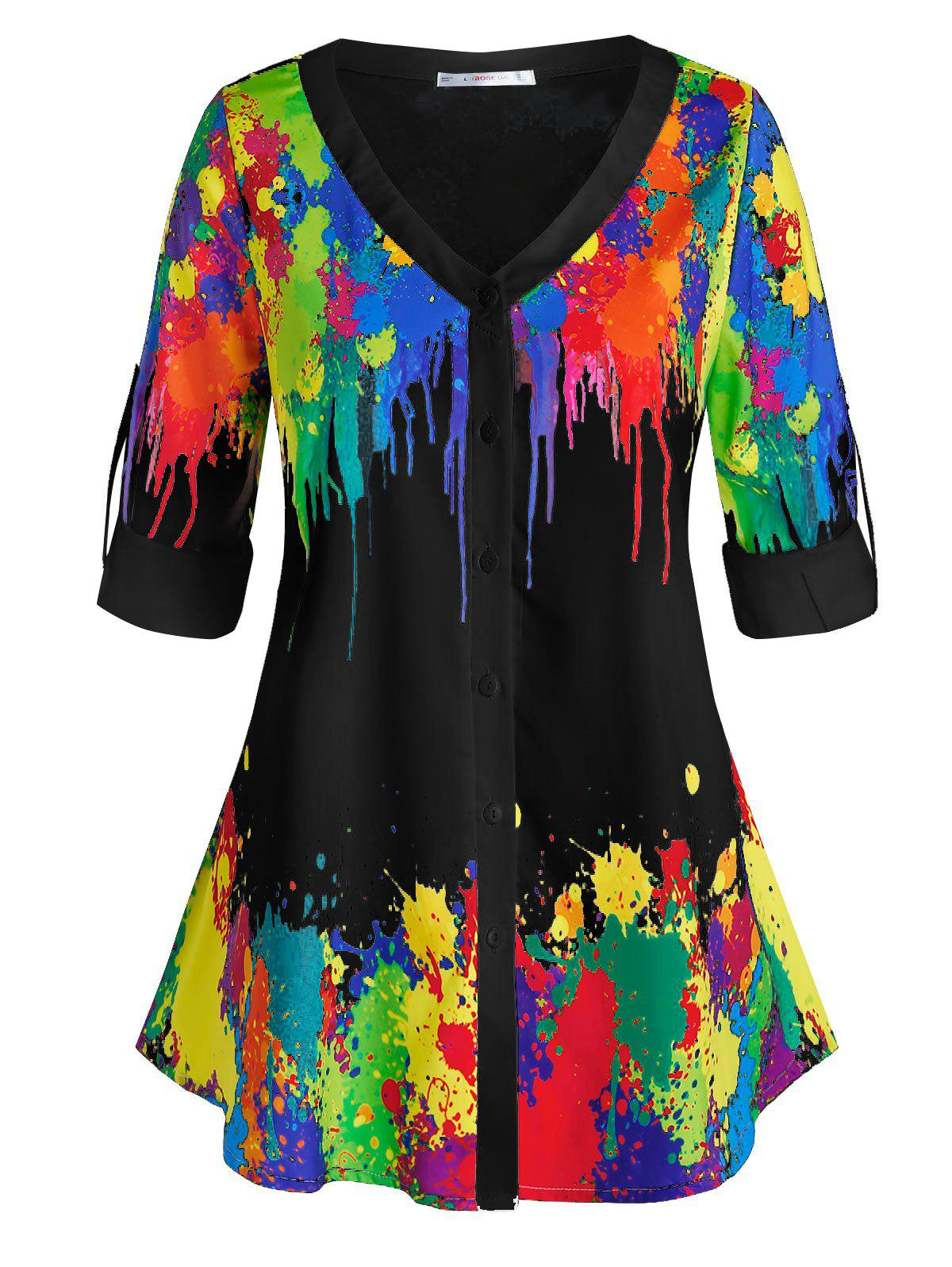 Plus Size Colorful Splatter Paint Roll Tab Sleeve Top фото
