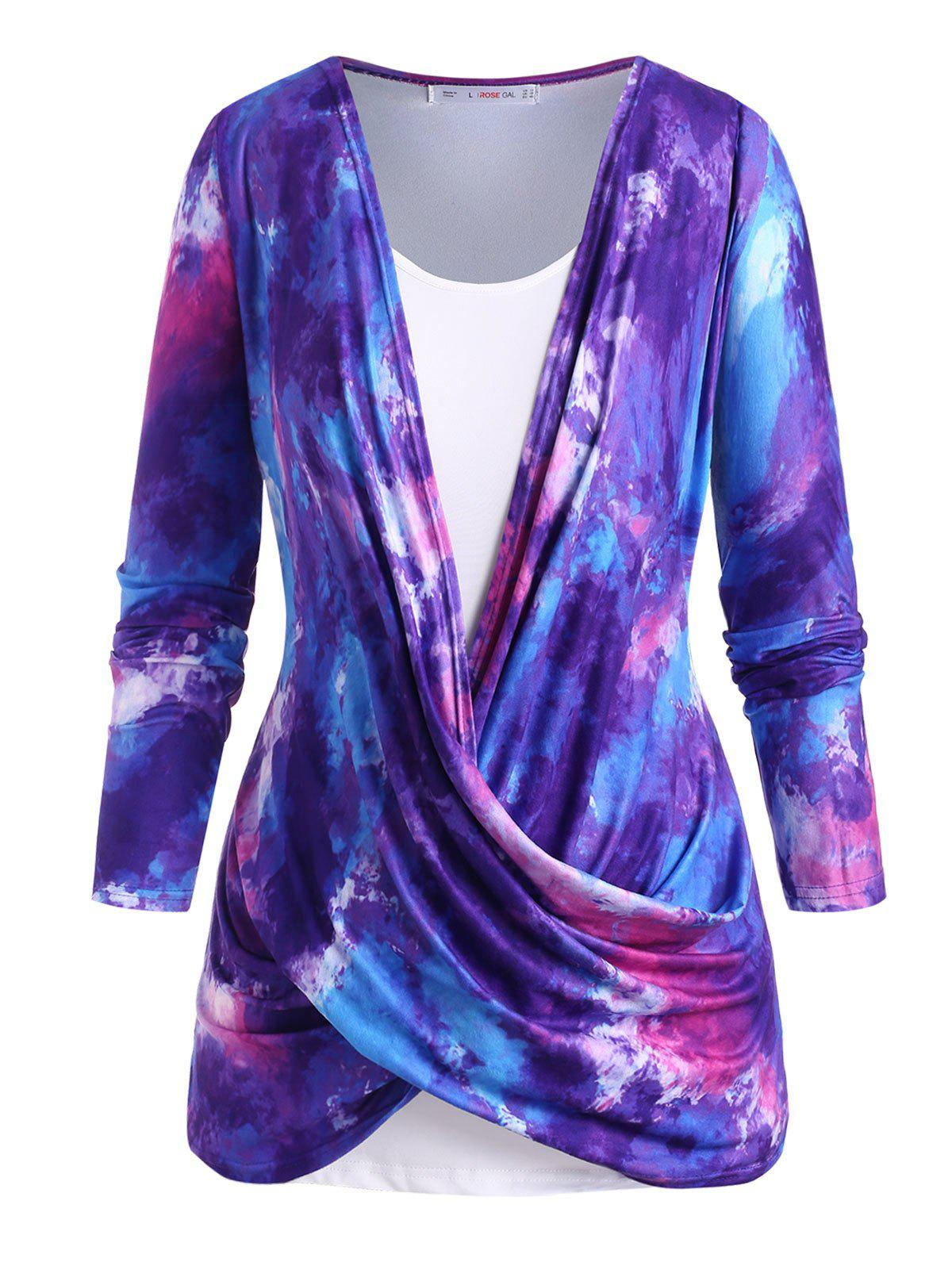 Buy Cowl Twisted Front Tie Dye Plus Size Top Set