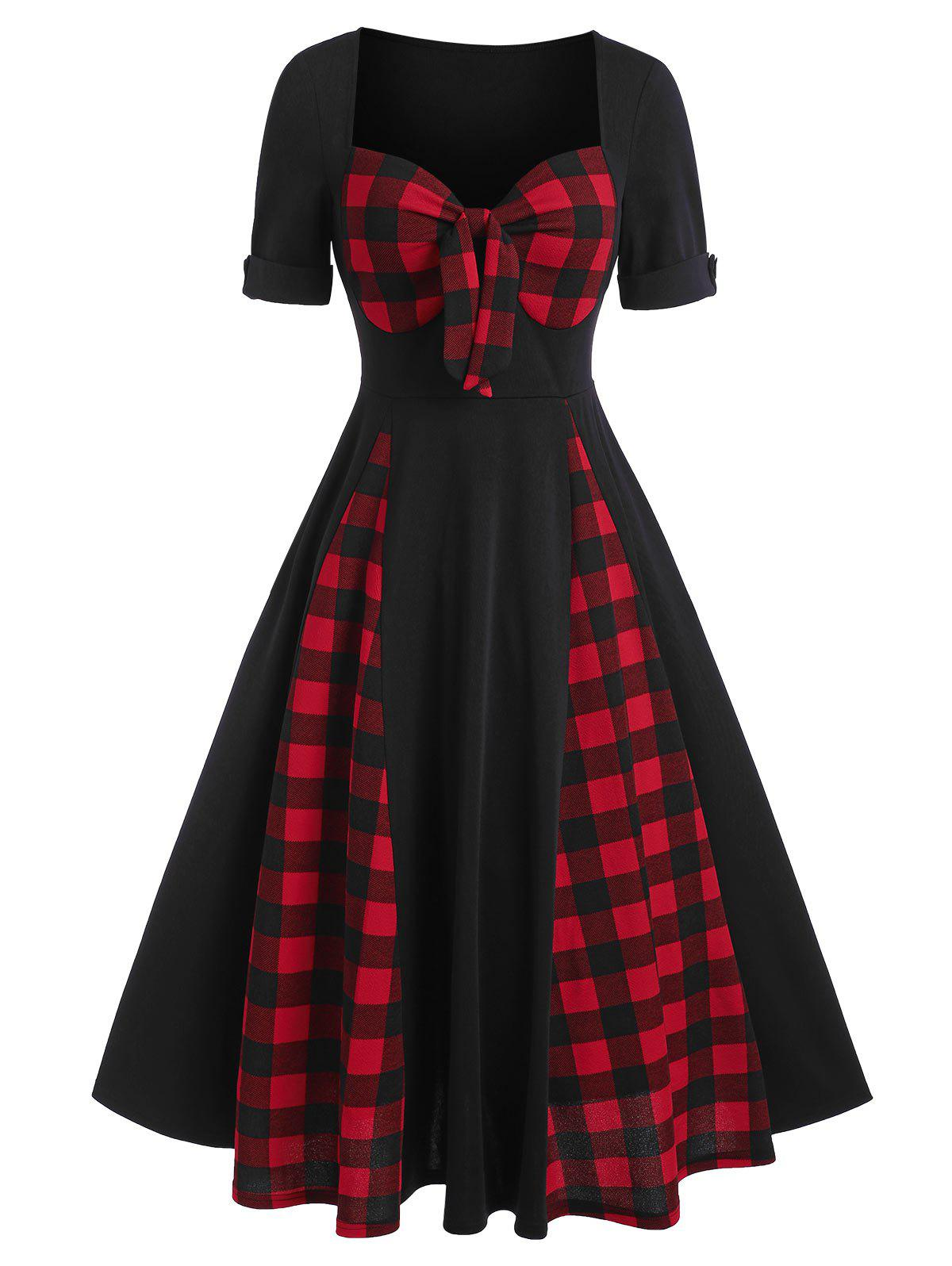 Discount Sweetheart Neck Bow Tartan Panel A Line Dress