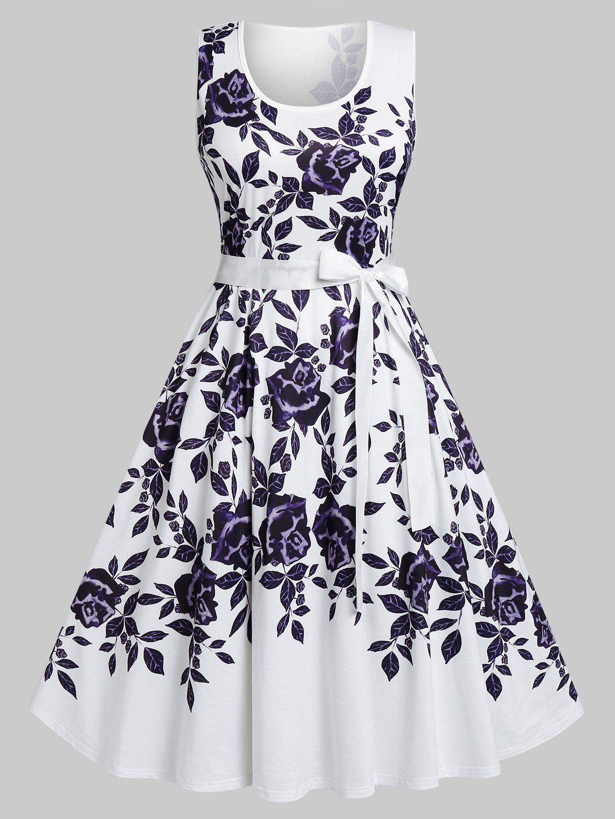 Buy Plus Size Flower High Waisted Belted Tank Dress