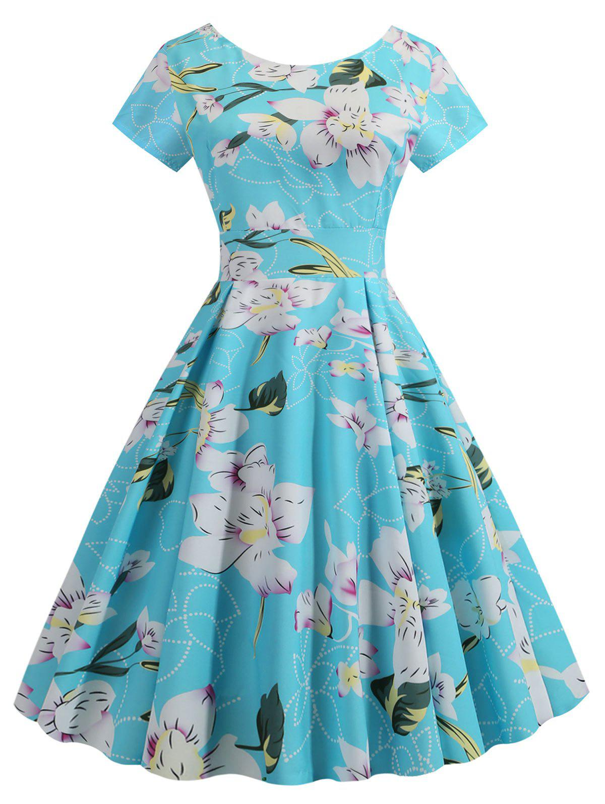 Floral Pleated Detail A Line Dress фото