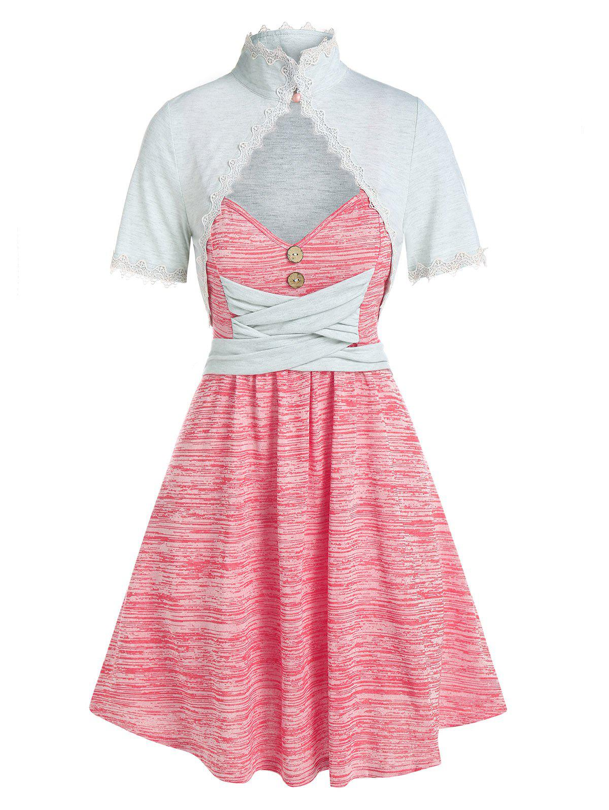 Best Sleeveless Space Dye Print Dress and Lace Trim Top