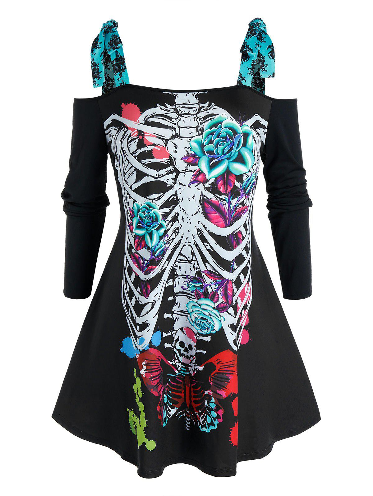 Outfits Plus Size Halloween Skeleton Tie Cold Shoulder Tunic Tee