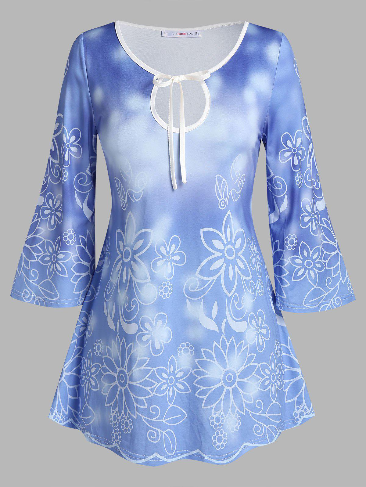 Outfits Plus Size Bell Sleeve Floral Print Keyhole T Shirt