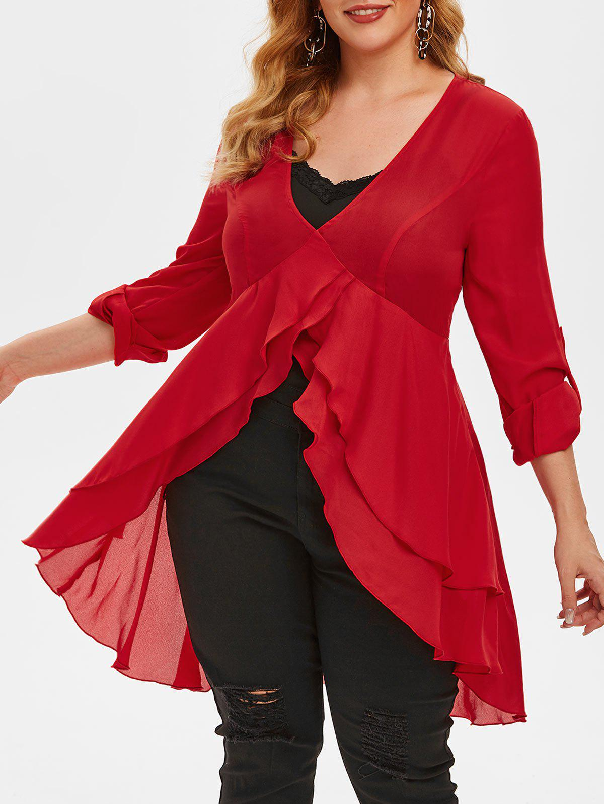 Trendy Plus Size High Low Chiffon Blouse and Tank Top Set