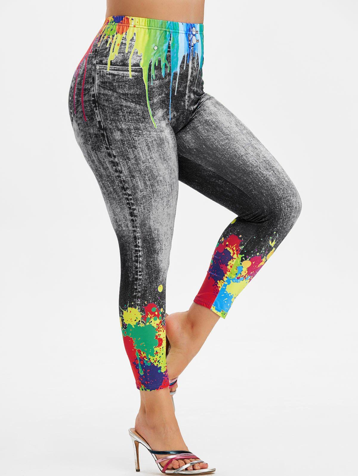 Outfits Plus Size Splatter Paint 3D Pattern High Rise Jeggings