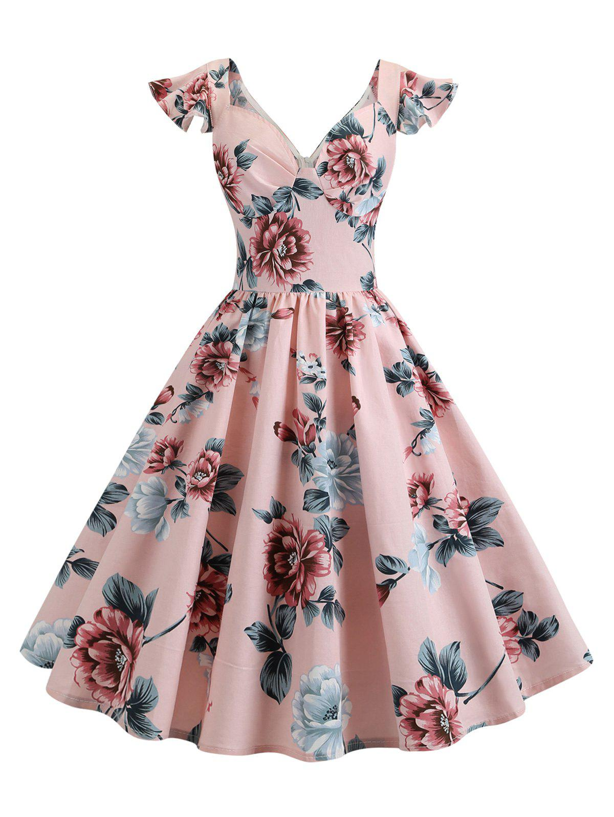 Fashion Vintage High Waisted Floral Dress