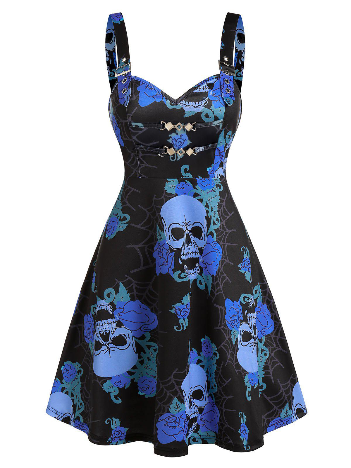 Outfits Skull Floral Print Chain Cami A Line Dress