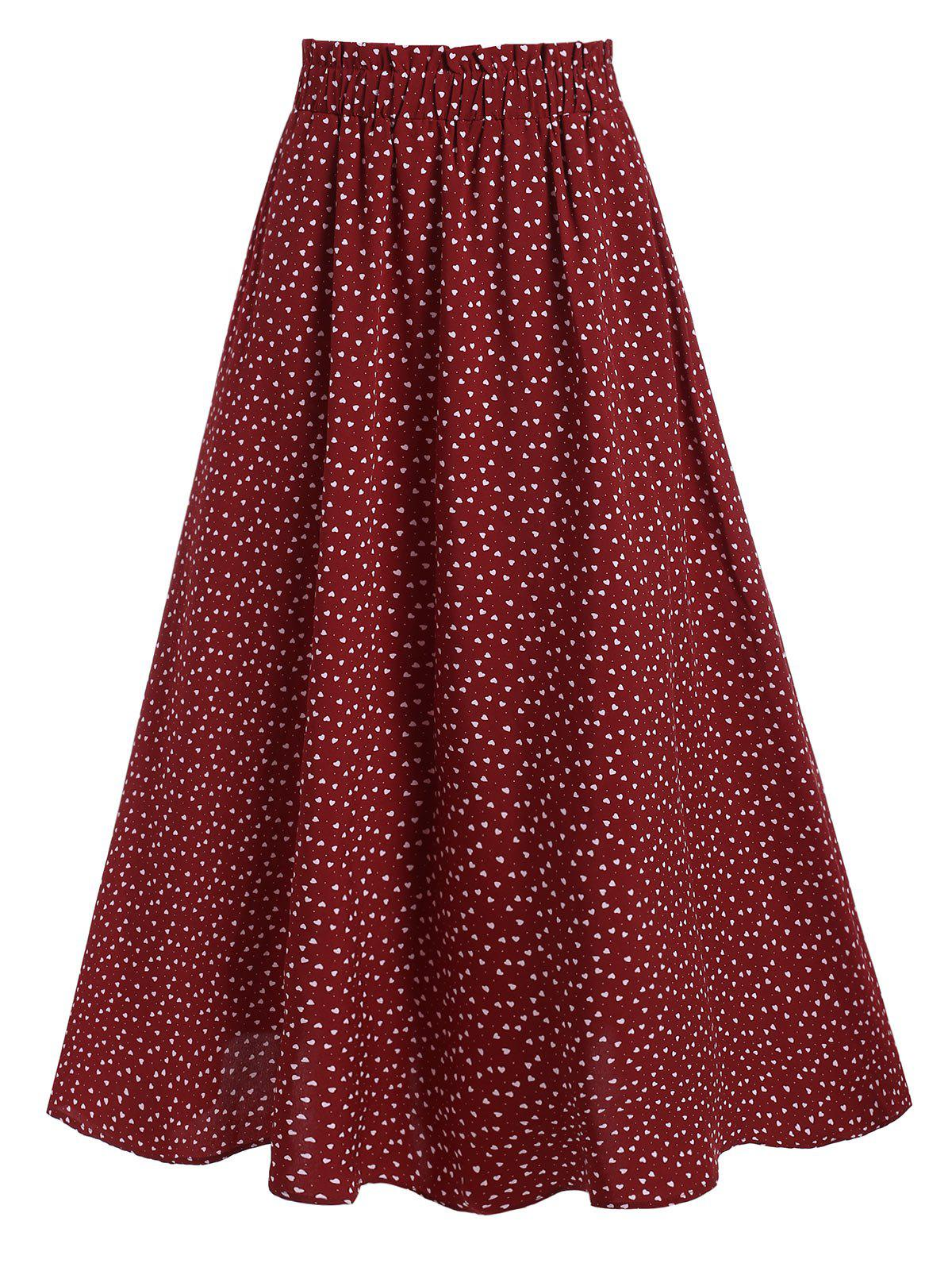 Shops Heart Print High Waisted Midi Skirt