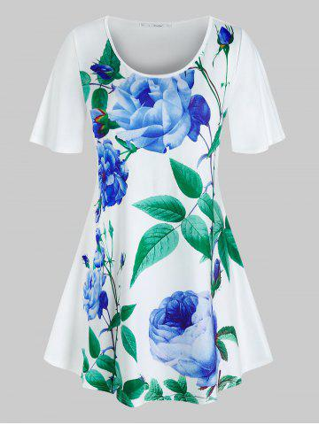 Plus Size Floral Leaves Print Swing T Shirt