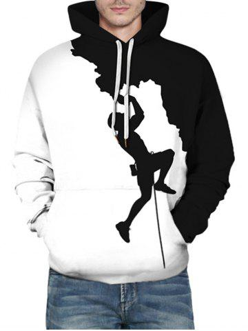 Bicolor Climber Silhouette Graphic Front Pocket Casual Hoodie - WHITE - L