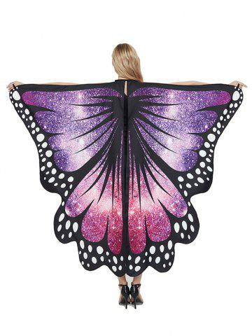 Party Cosplay Butterfly Wing Pattern Decorative Cape - PURPLE - 168*135CM