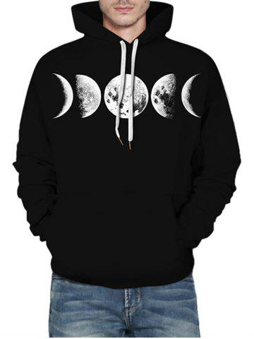 Moon Graphic Front Pocket Casual Hoodie - BLACK - 2XL