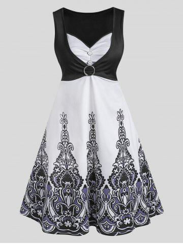 O Ring Ruched Printed A Line Dress