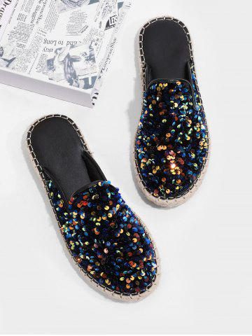 Sequins Outdoor Close Toe Flat Slippers - DARK SLATE BLUE - EU 40