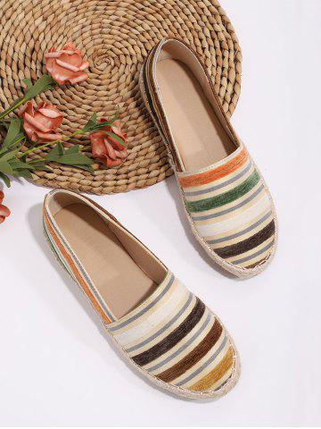 Colorful Striped Espadrilles Loafer Flat Shoes - MULTI-A - EU 41