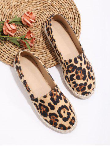 Leopard Pattern Braid Slip On Flat Shoes - MULTI-A - EU 39