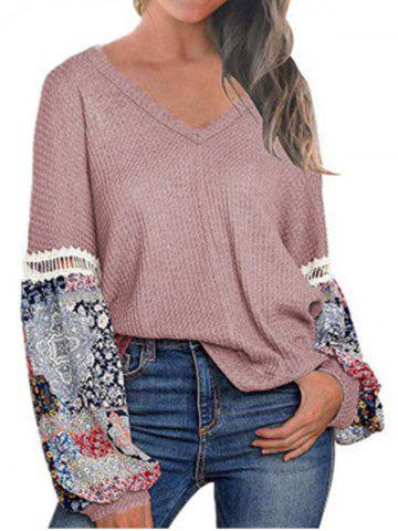 Lantern Sleeve Ethnic Print Casual Sweater