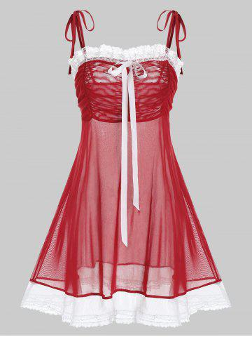 Plus Size Tie Shoulder Sheer Mesh Ruched Babydoll Set - RED - 1X