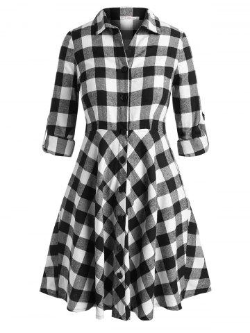 Tab Sleeve Plaid Plus Size Shirt Dress