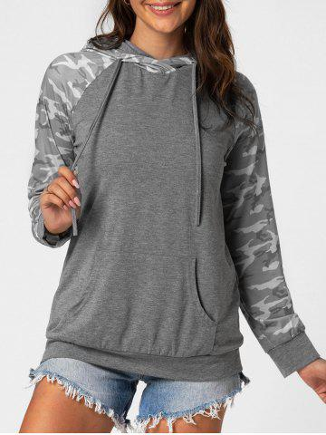 Camo Front Pocket Marled Hoodie - GRAY - S