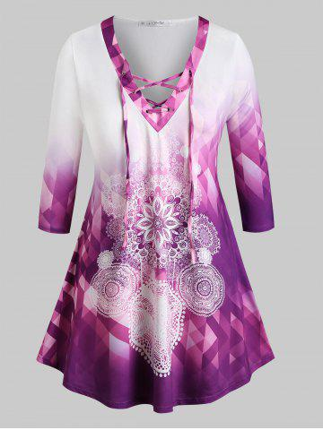 Plus Size Ombre Color Lace Up Printed Tee - PURPLE - 3X