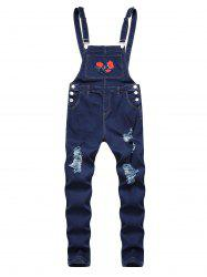 Ripped Flower Embroidered Tapered Overall Jeans -